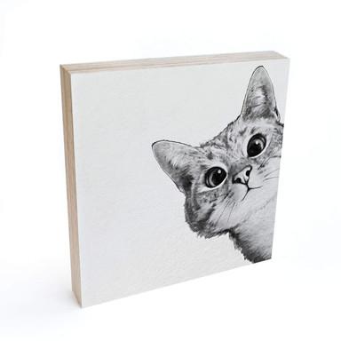 Holzbild zum Hinstellen - Graves - Sneaky Cat - 15x15cm - Bild 1