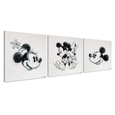 3-er Set Leinwandbild Mickey Minnie Sketch, Rücken an Rücken - Bild 1