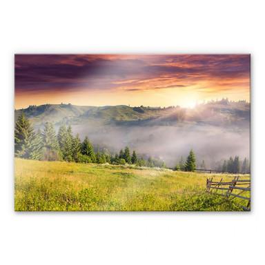 Acrylglasbild Bergtal im Nebel