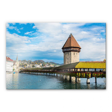 Acrylglasbild Holzbrücke in Luzern