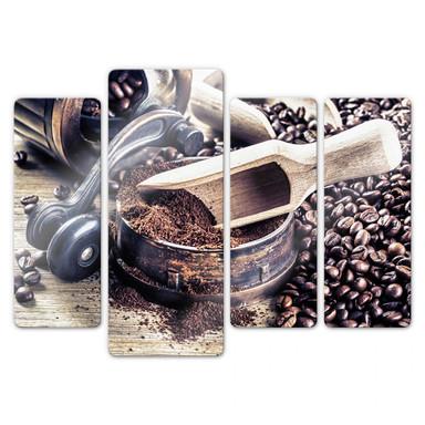Glasbild Kaffeeduft (4-teilig)