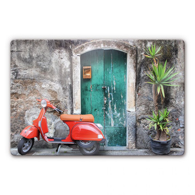 Glasbild Red Scooter - Bild 1