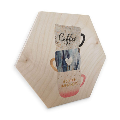 Hexagon - Holz Birke-Furnier Fredriksson - A cup of happiness