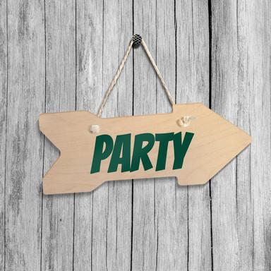 Holz-Wegweiser - Party inkl. Sisalseil