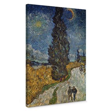 Leinwandbild van Gogh - Landstrasse mit Zypresse und Stern