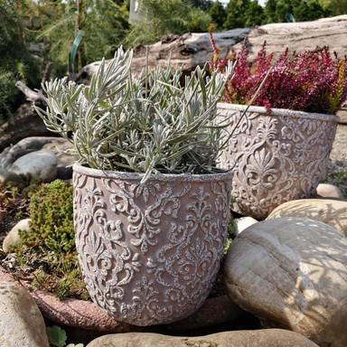 Blumentopf Beton mit Verzierung - 14x14cm - 2-teilig - Bild 1