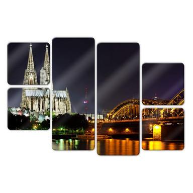 Glasbild Kölner Nacht (6-teilig)