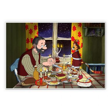 Hartschaumbild Pettersson und Findus - Abendmahl bei Kerzenlicht