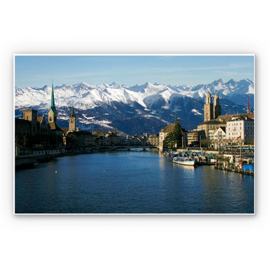 Hartschaumbild Zürichsee mit Alpen