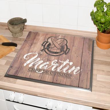 Herdabdeckplatte Chef de Cuisine & Wunschtext - Bild 1