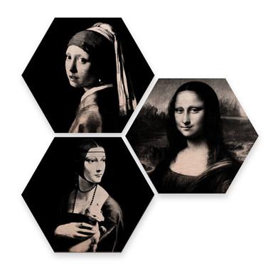Hexagon - Alu-Dibond-Kupfereffekt - Berühmte Frauen der Kunstgeschichte (3er Set)