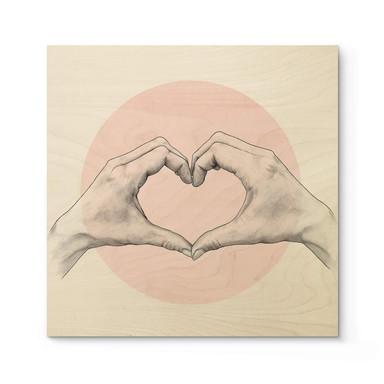 Holzposter Graves - Heart in Hand - Quadratisch