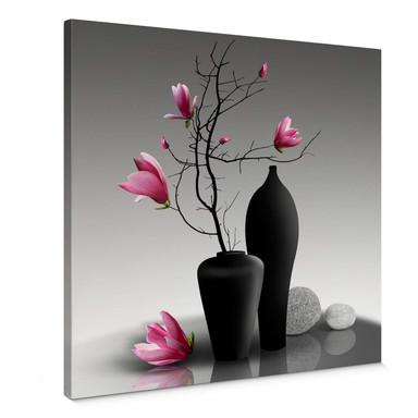 Leinwandbild Magnolienzweig in schwarzer Vase - Quadratisch