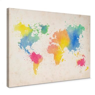 Leinwandbild Weltkarte - Watercolour