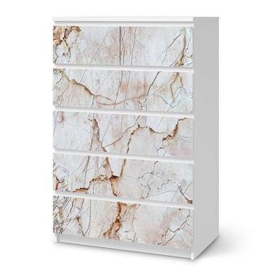 Möbel Klebefolie IKEA Malm Kommode 6 Schubladen (hoch) - Marmor rosa- Bild 1