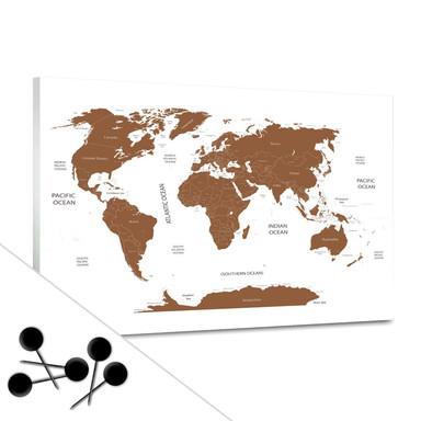 Pinnwand Weltkarte - braun