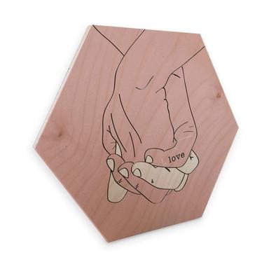 Hexagon - Holz Birke-Furnier Kubistika - Hand in Hand