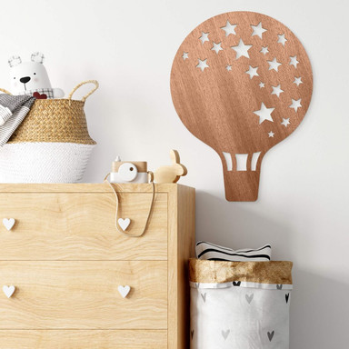 Holzdeko Mahagoni - Heissluftballon mit Sternen