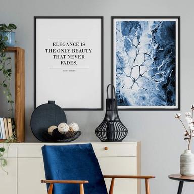 Poster-Set mit Bilderrahmen Blaue Eleganz (2er Set) - Bild 1