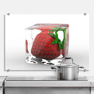 Spritzschutz Erdbeereiswürfel