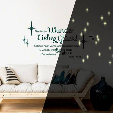 Wandtattoo Glaube an Wunder, Liebe und Glück + Leuchtsterne