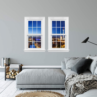 3D Wandtattoo Doppelfenster - Berlin Panorama