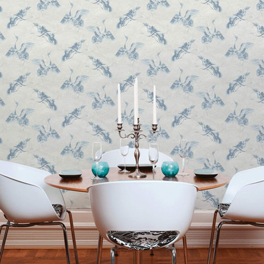 A.S. Création Vliestapete Linen Style Tapete mit Vögeln blau, grau - Bild 1