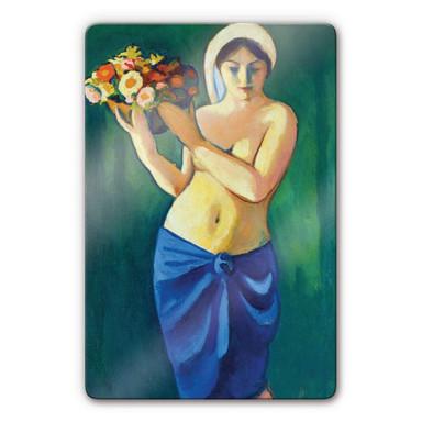 Glasbild Macke - Frau eine Blumenschale tragend