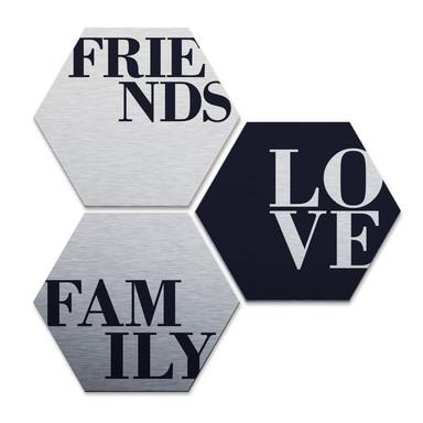 Hexagon - Alu-Dibond-Silbereffekt - Love, Friends, Family (3er Set)