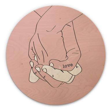 Holzbild Kubistika - Hand in Hand - Rund