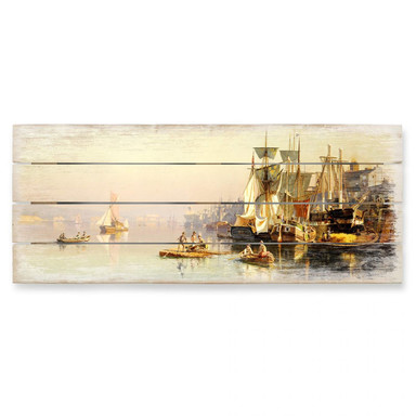 Holzbild Neumann - Fischerboote und Kähne auf der Themse bei Greenwich - Panorama