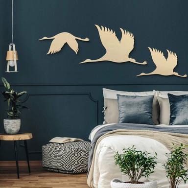 Holzkunst Pappel - Kraniche - Vogelschwarm 01