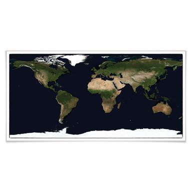 Poster Weltkarte - Satellitenaufnahme