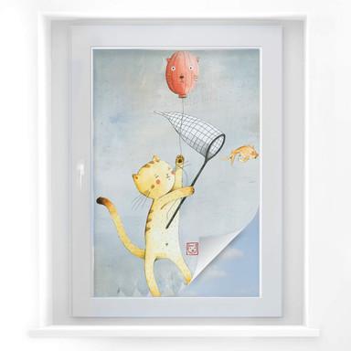 Sichtschutzfolie Loske - Katze mit Ballon