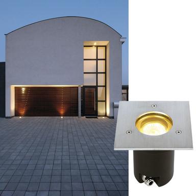 Starre Bodeneinbauleuchte Adjust, Edelstahl, inkl. Einbautopf, IP67. eckig, GU10 - Bild 1