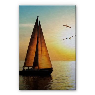 Alu Dibond Bild Segelboot im Sonnenuntergang
