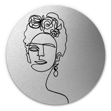 Alu-Dibond-Silbereffekt Hariri - Frida-Kahlo - Rund
