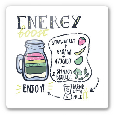 Glasbild Energy Boost - quadratisch
