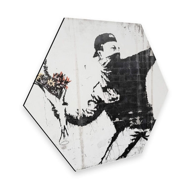 Hexagon - Alu-Dibond Banksy - Der Blumenwerfer