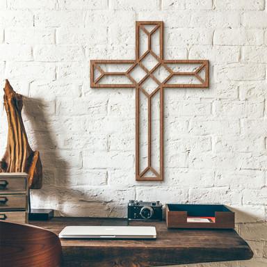 Holzkunst Mahagoni - Origami Kreuz