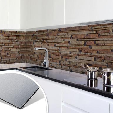 Küchenrückwand - Alu-Dibond-Silber - Mauer 05