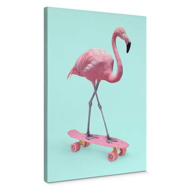 Leinwandbild Fuentes - Skate Flamingo