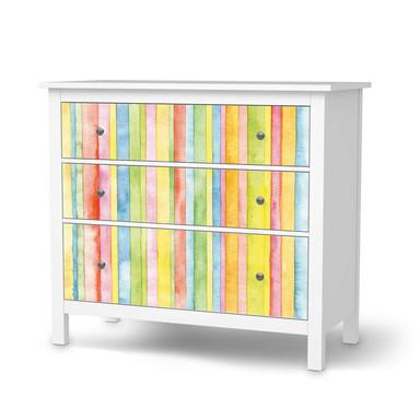 Möbelfolie IKEA Hemnes Kommode 3 Schubladen - Watercolor Stripes
