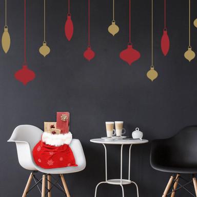 Wandtattoo Weihnachtskugeln (2-farbig)