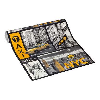 A.S. Création Tapete Boys and Girls Kinderzimmertapete New York City gelb, metallic, schwarz
