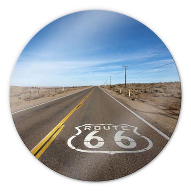 Glasbild Route 66 - rund