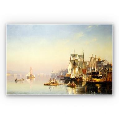 Hartschaumbild Neumann - Fischerboote und Kähne auf der Themse bei Greenwich