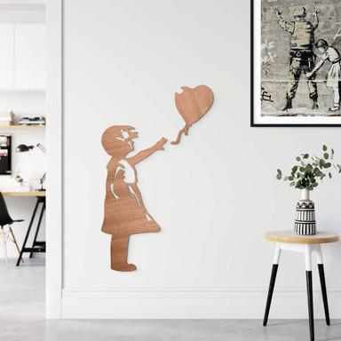 Holzdeko Mahagoni - Banksy - Girl with the red ballon (2-teilig)