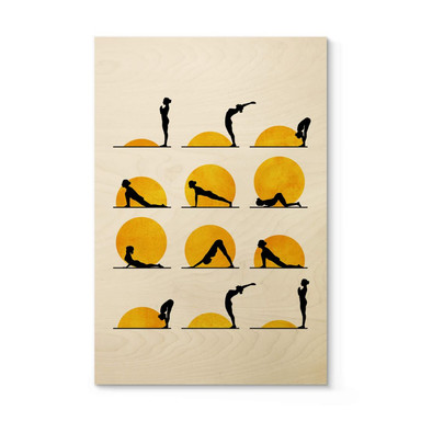 Holzposter Kubistika - Yoga Der Sonnengruss