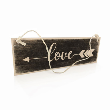 Holzschild Love mit Pfeil